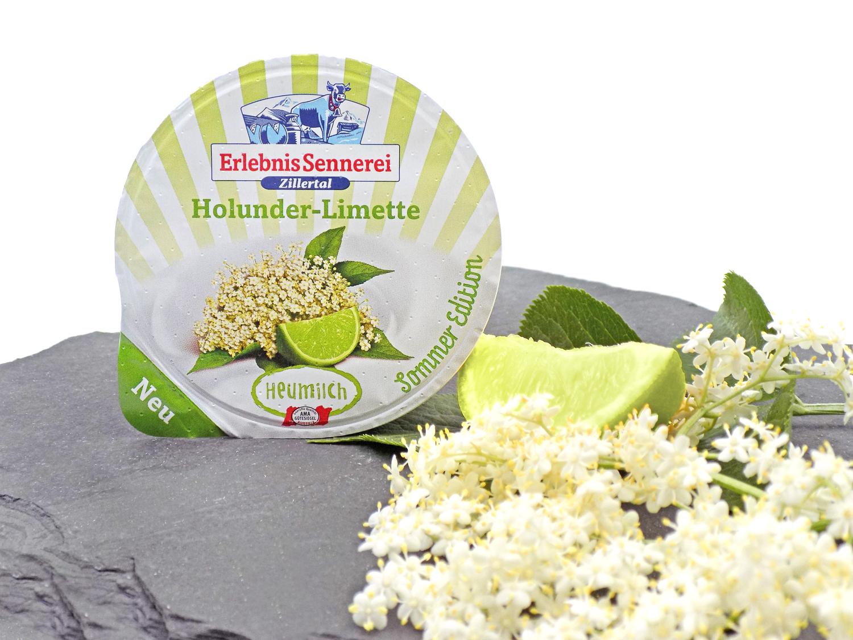 Neues Heumilch-Joghurt Holunder-Limette von der Erlebnissennerei Zillertal